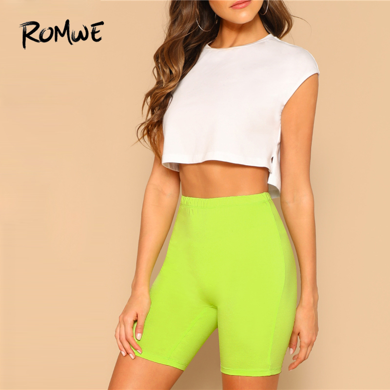 ROMWE Green Neon Lime Elastic Waist   Leggings   Casual Basic Women Summer Fashion   Leggings   Stretchy Fitness Female   Leggings