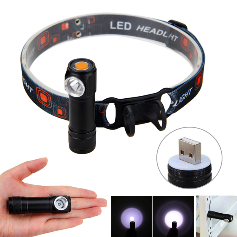USB Rechargeable LED Headlamp Head Torch Flashlight Work light Headlight Built-in battery