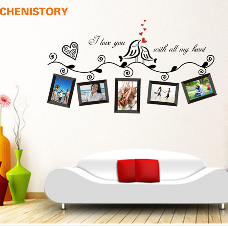 diy black birds photo tree wall stickers mural art kid room decals photo frame adesivo de parede. Black Bedroom Furniture Sets. Home Design Ideas