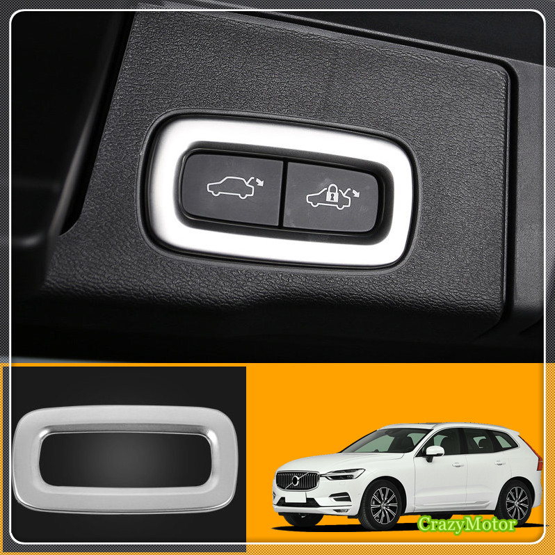 For Volvo XC60 2018/ XC90 2015-2018 Stainless Matte Interior Rear Trunk Button Frame Sticker Cover 1* Car styling