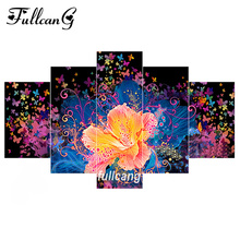 FULLCANG Colorful Flowers 5pcs Diamond Painting Cross Stitch Multi Picture Embroidery Diy 5D Square Mosaic F1099