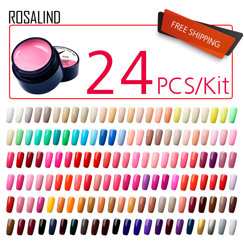 (24PCS/LOT)ROSALIND 5ML Painting Gel Varnish  Gel Nail Polish Set For Manicure Vernis Semi Permanent Design Of Nail Art Primer