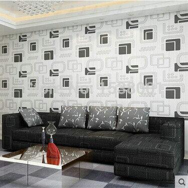 aliexpress.com : acquista doppio quadrato nero bianco carta da ... - Carta Da Parati Per Soggiorni Moderni
