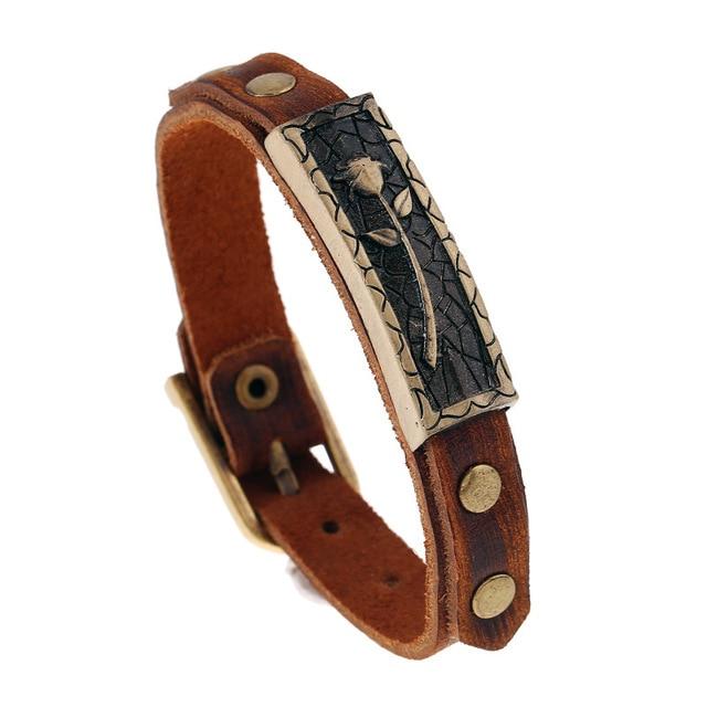 Er Vintage Genuine Leather Bracelet Women Wrist Band Brown Braclet Tulip Jewelry Pulseira