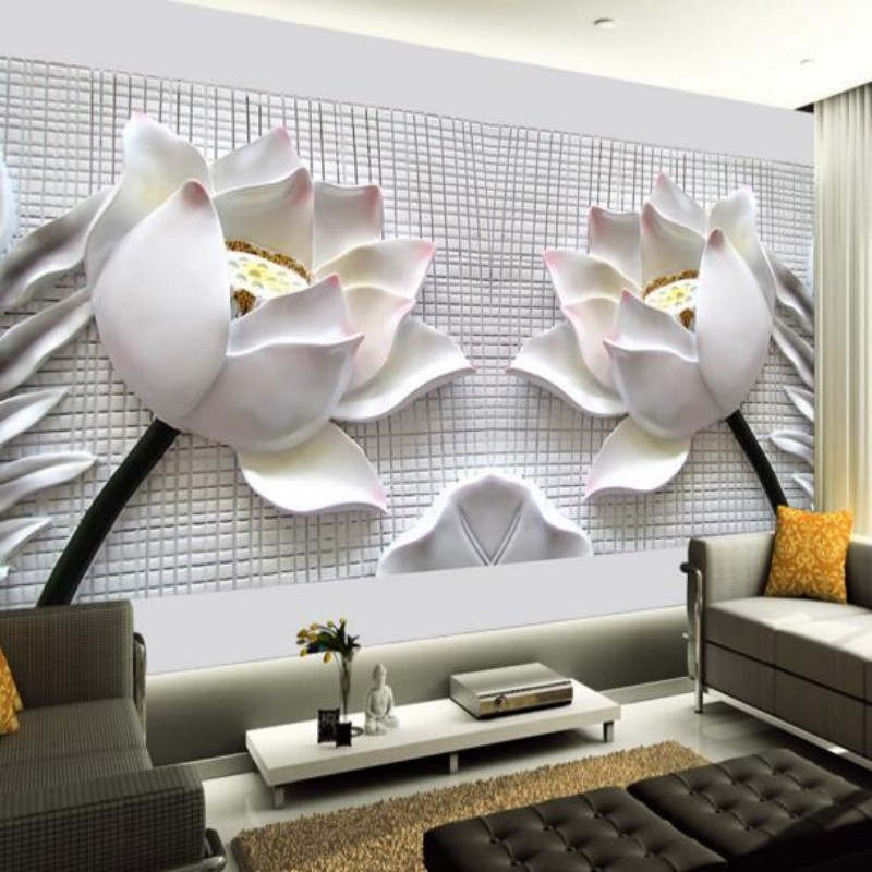 Beibehang Custom 3 D Wallpaper Home Decoration  3D Wall Paper Photo Embossed Lotus Sitting Room 3d Wallpaper Background Pictures