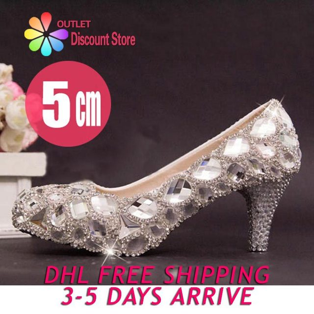 9417a6e30b022 2 Inch Heels Diamond Crystal chunky low heel pumps bridal shoes Bling clear  cinderella party evening shoes Abend Schuhe SJW014E