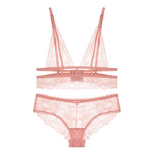 hot lace sexy lingerie set three-point hollow strap mesh temptation bra 2 pcs pink ultra-thin transparent underwear