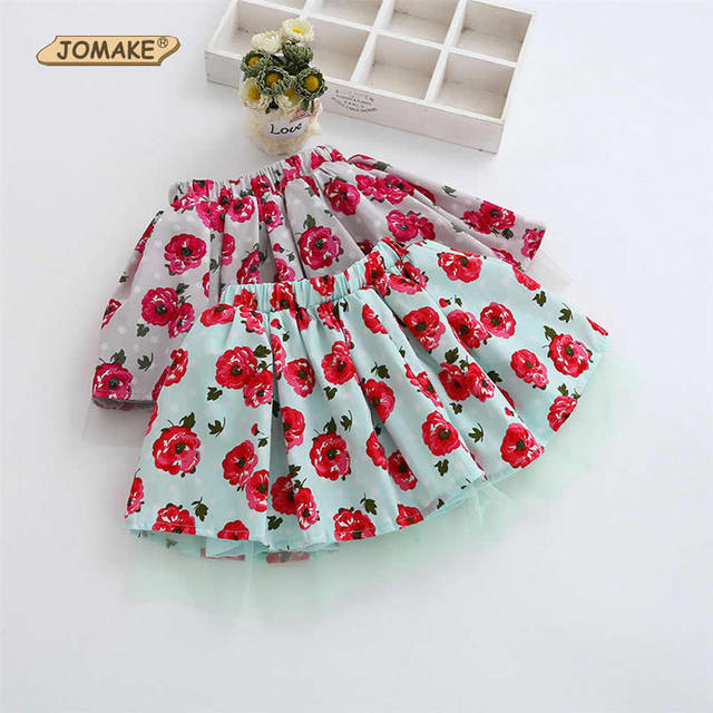 Rose Printed Baby Girls Skirts 2017 Spring New Style Kids Costumes For Girls Casual Kids Clothes Children Ball Gown Tutu Skirt