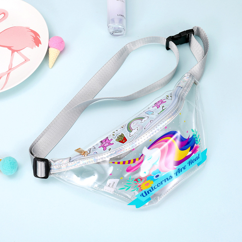 2019 Unicorn Cute Women/Girls Waist Bag Transparent PVC Flamingo Cartoon Kids Fanny Pack Clear Belt Bag Beach Purse Money Pouch