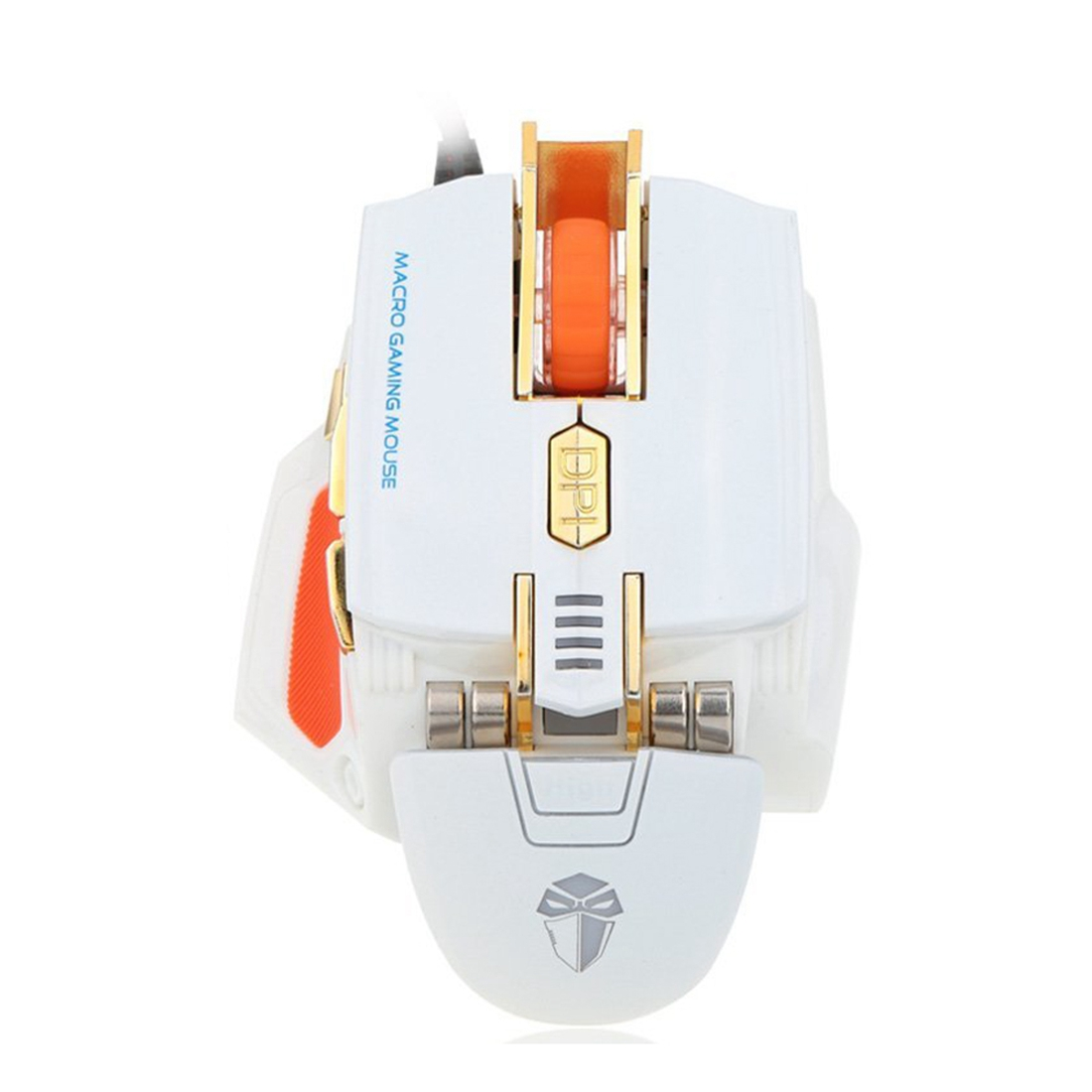 LUOM Mouse Gaming Optical Gaming Mouse 4000dpi with wire 7 Keys to Macro Adjustable Registration for PC Computer white