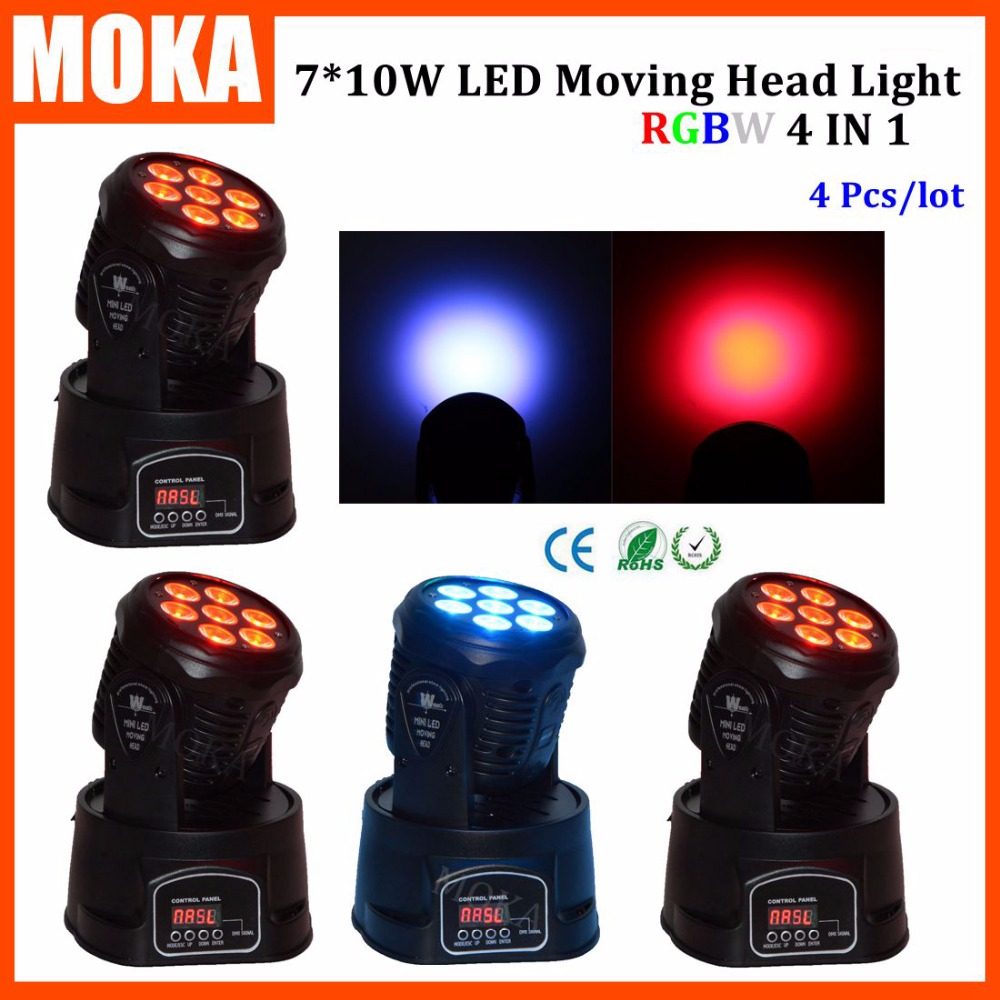 4PCS/LOT Disco 10w*7 Dj 7 Leds Beam Moving Head Effect 8 13 DMX Channels Projector 1 Year Warranty Angle Beam 25 Degree Light