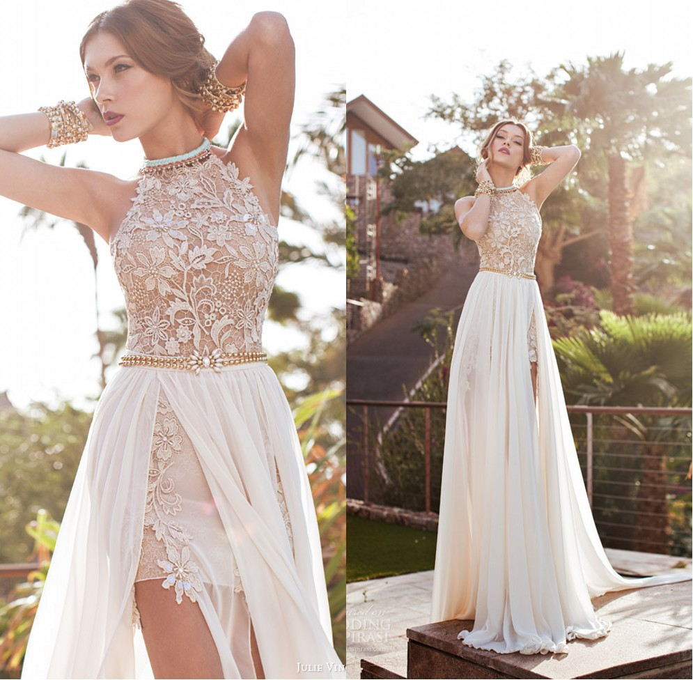 Romantic lace beaded chiffon high low white lace prom long 2018 Side Slit Spring Evening Party Gown mother of the bride dresses