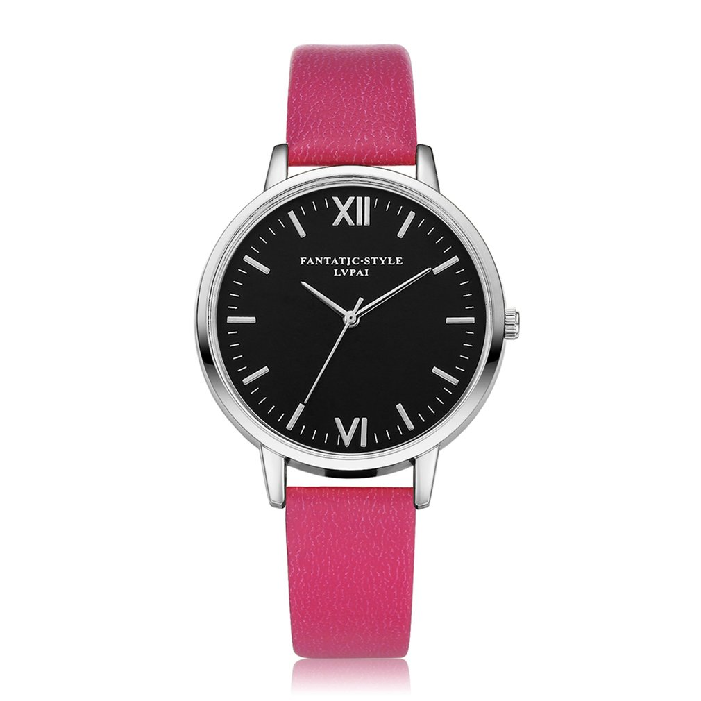 Rose Red Strap Beneficial Women Quartz Watch Fashion Analog Sliver Gold Case Black Dial Classic Narrow Leather Strap 2018