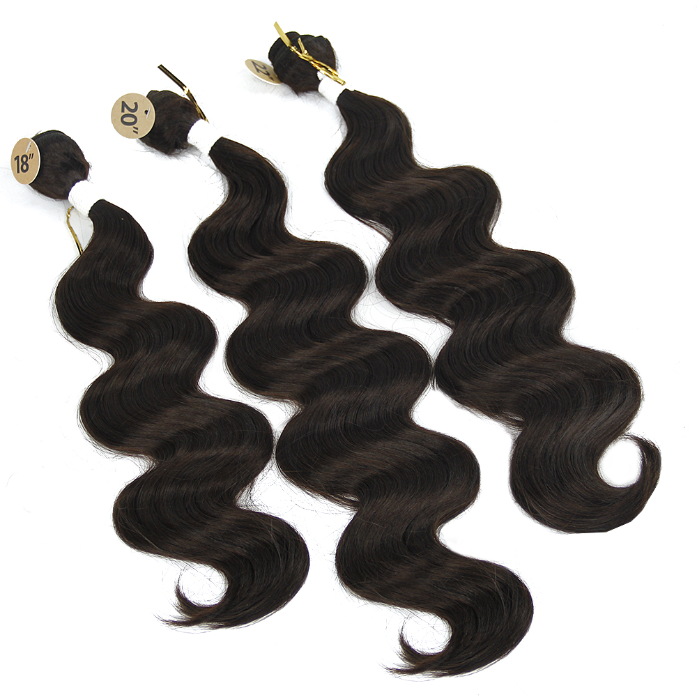 Synthetic Hair Extensions Brazilian Body Wave 3 Bundles Hair with Closure Ombre Color Heat resistant synthetic Bundles weave ...