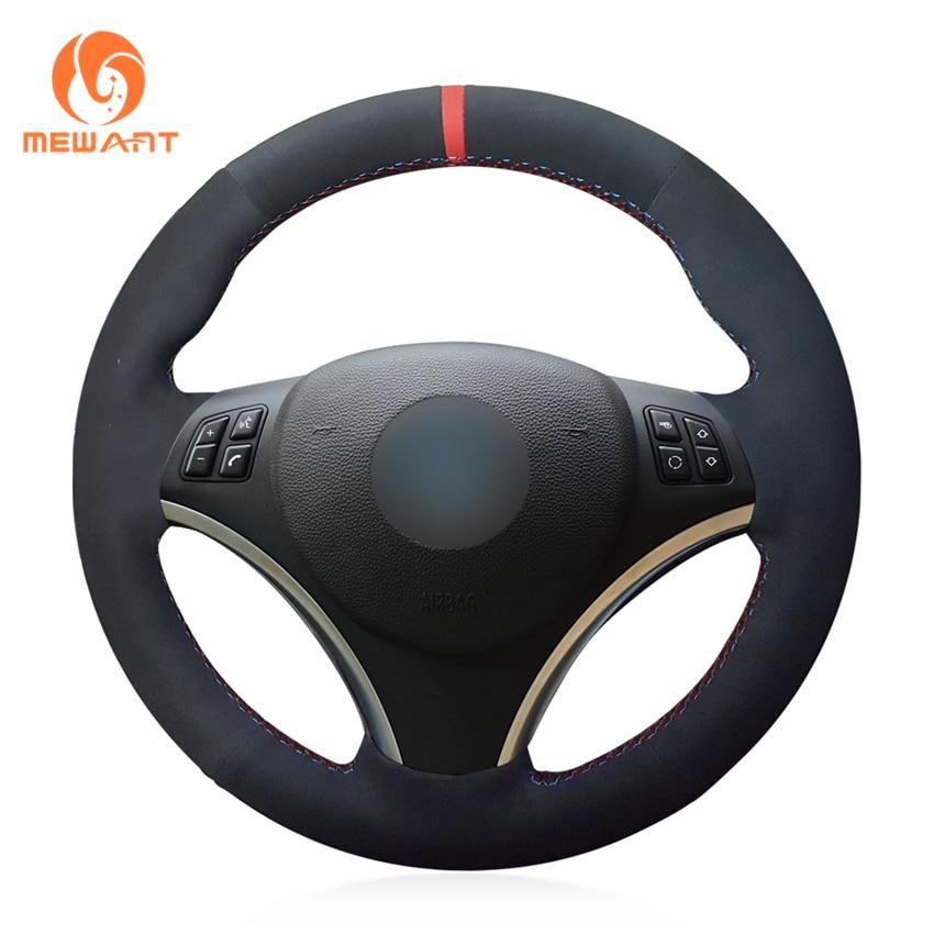 MEWANT Black Suede Car Steering Wheel Cover for BMW E90 320i 325i 330i 335i E87 120i 130i 120d