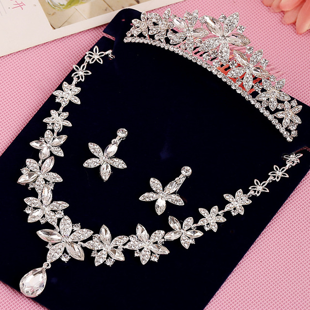 Bridal Jewelry Collares Austrian Crystal Necklace Earring Jewelry sets Women Brand silver Necklace Sets Classic Wedding Sets