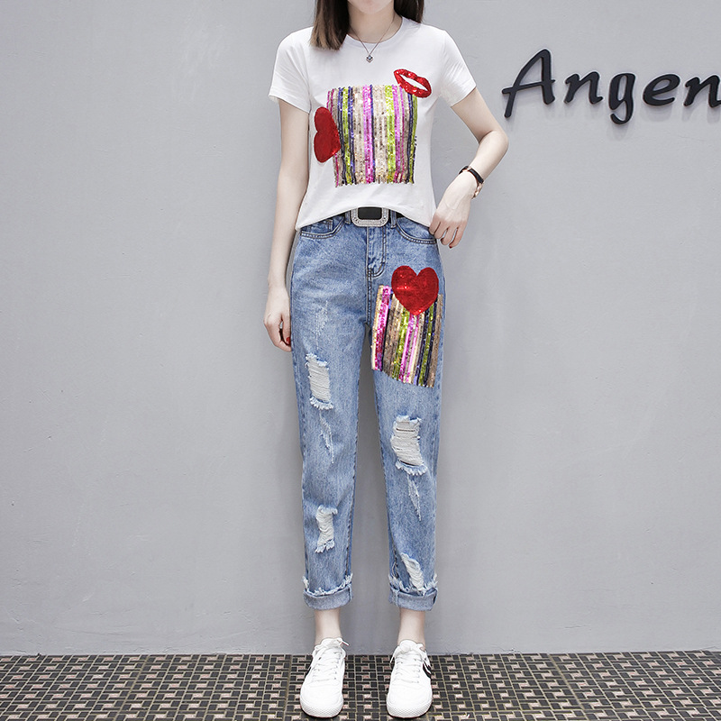 Fashion Summer Women Hole Ripped Jeans Two Piece Set Sequined Short Sleeve T-shirt Tracksuit Streetwear Slim Fit Ensemble Femme 3