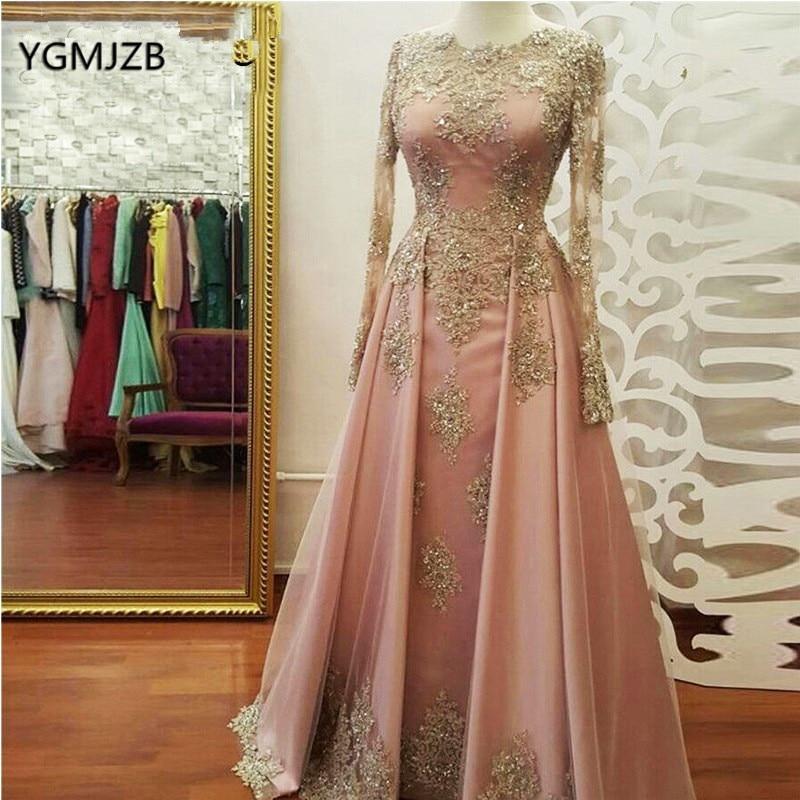 Muslim   Evening     Dress   Long Sleeves 2018 Lace Appliques Beaded Saudi Arabia Women Elegant Formal Party Prom Gown Robe De Soiree