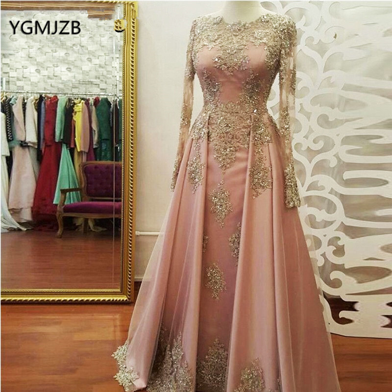 Muslim   Evening     Dress   Long Sleeves 2019 Lace Appliques Beaded Saudi Arabia Women Elegant Formal Party Prom Gown Robe De Soiree