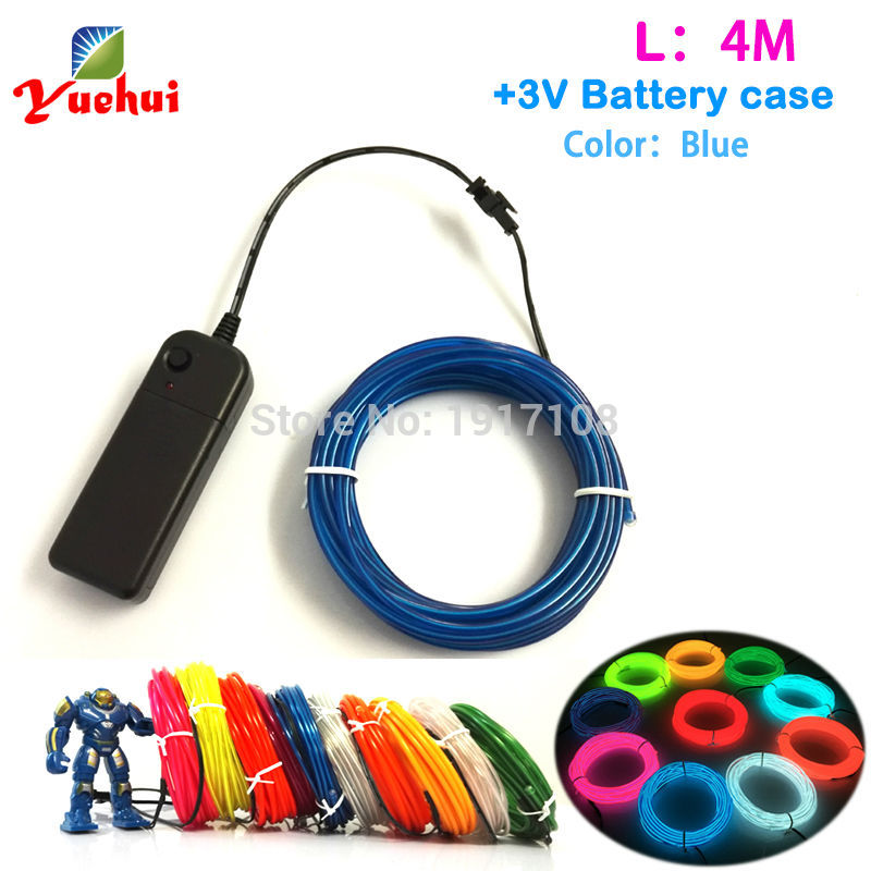 DC-3V Powered Fashion Soft Car decor LED thread NEON Glow Lighting Party decor Flexible Neon Light 4M 10 Color EL Wire Rope Tube