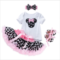 4PCS/set baby Girls Clothing Set 2019 Summer minnie romper+dress+ Head flower+shoe toddle baptism birthday infant set for girls