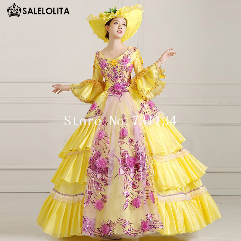 2016 Royal Yellow Print Palace Victorian Lolita Dress Women Vintage Marie Antoinette Rococo