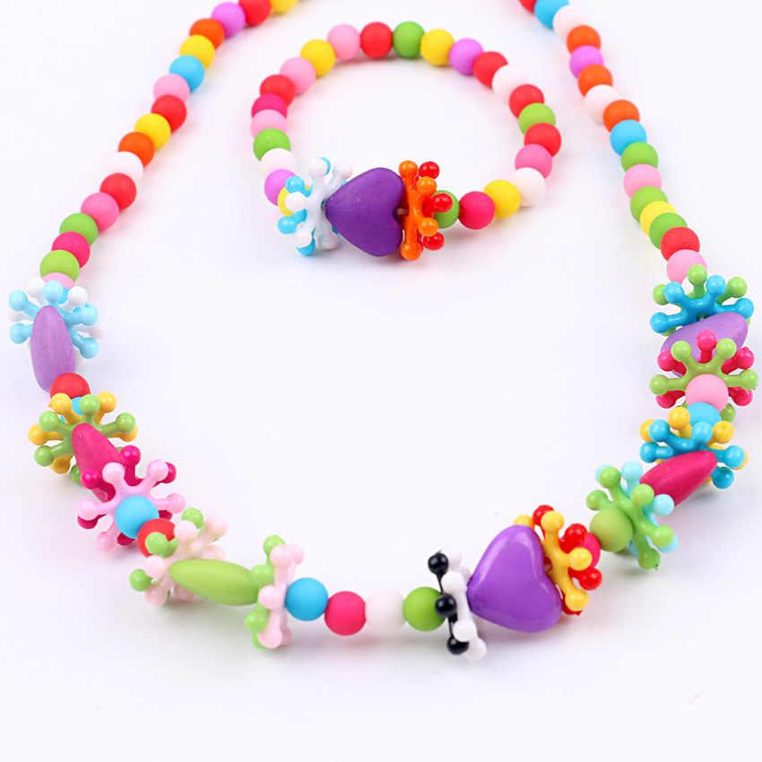 Crianças criativas Frisado Coração Bonito Colar de Pingente de Jóias Acessórios Gumball Bubblegum Colar Pulseira Set for Girls XL-19