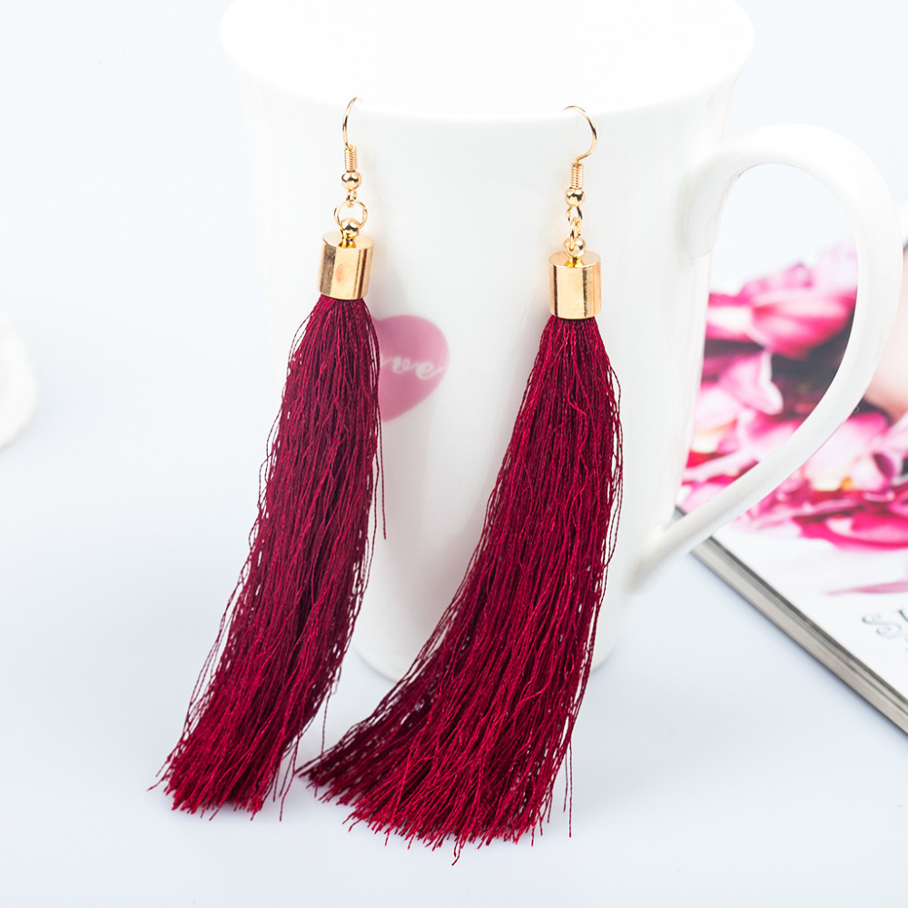 bohemian drop oval style item geometric earrings bead from thread silk peacock tail jewelry colorful wire national in women dangle earring