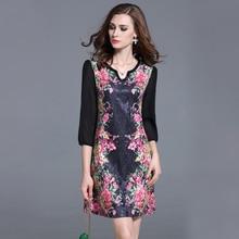 Flower Print Bead Plus Size Dresses Vestidos Mujer 2017 Fashion Large Size Women Autumn Dress Vestido De Festa Ropa Mujer 72168