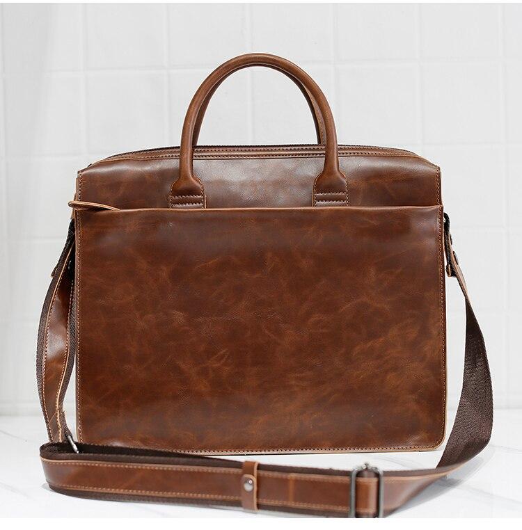HTB1ULfZkzihSKJjy0Ffq6zGzFXaY Brand Men's Briefcase Handbag Crazy Horse Pu Leather Messenger Travel Bag Business Men Tote Bags Man Casual Crossbody Briefcases
