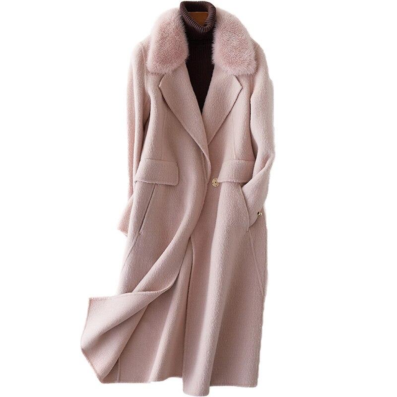 Lambswool Fur Coat Mink Fur Collor Wool Jacket Real Fur Coat Female 2018 Korean Winter Coat Women Tops Pink Long Coats ZT263