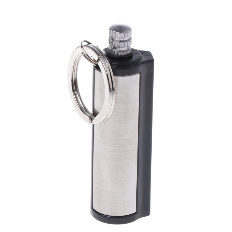 Fashion Permanent Striker Lighter Match Silver Metal Key Chain