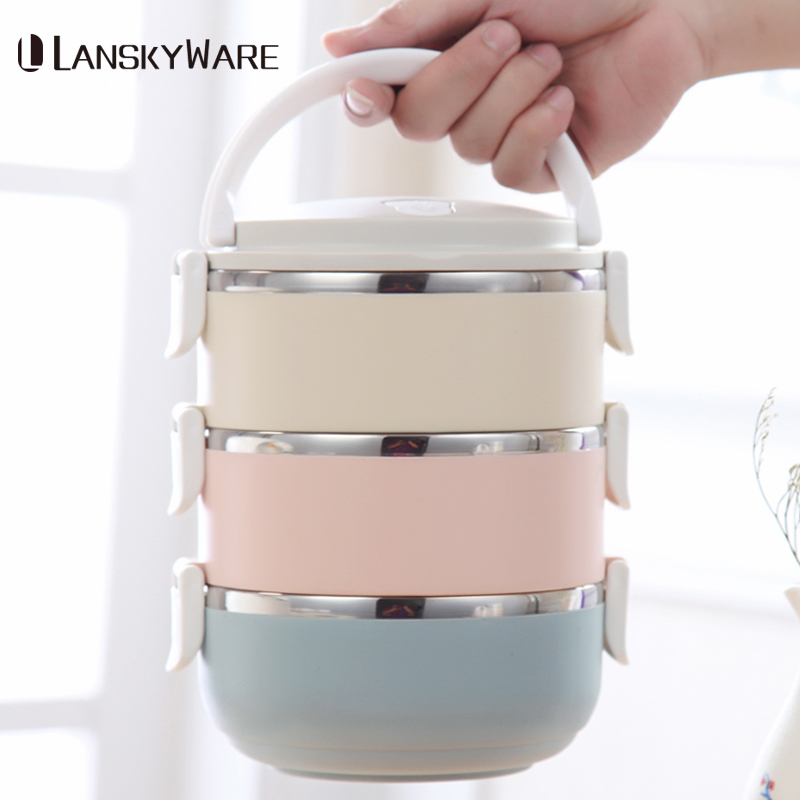 Gradient Color Japanese Lunch Box Thermal For Food Bento Box Stainless Steel LunchBox For Kids  Lunch Boxes For Picnic School
