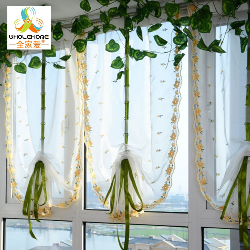 Sheer yellow curtains - Embroidered Yellow Small Flowers Roman Bland Sheer Curtains For Bedroom Tulle Voile Curtains For Kitchen