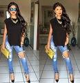 Las nuevas Señoras de Talle Alto Recortable Ripped Apenada Skinny Jeans Jeggings UK 6