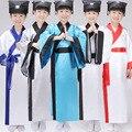 Crianças Traje Hanfu Chinese 5 Cores Menino Robe + cinto + Chapéu Estudante Chinês Tradicional Traje Tang Traje Chinês Antigo 18
