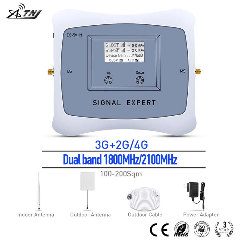 Hot Sale! Dual Band 1800/2100MHz 2g 3g 4g Mobile Signal Booster 2G 3G 4G Cell Phone Signal Repeater/Amplifier With Panel Kit