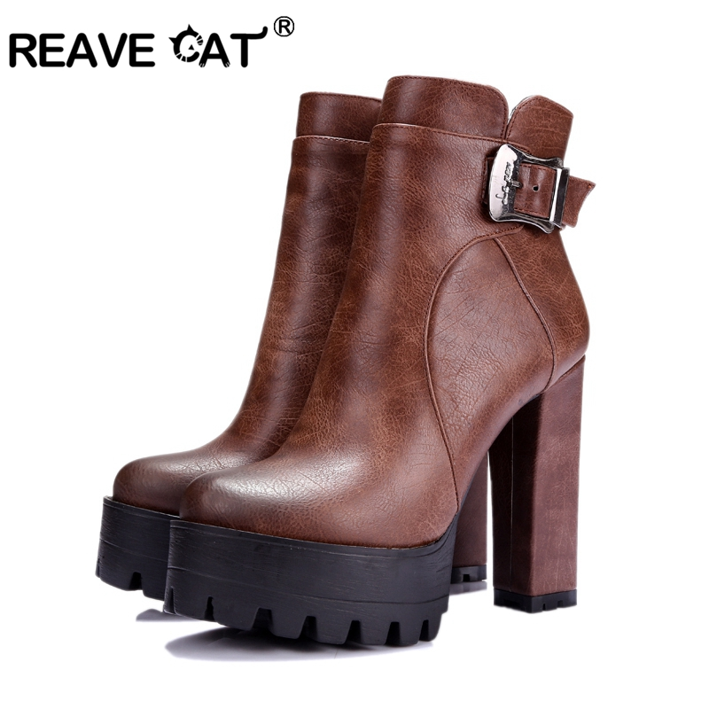 REAVE CAT 2020 Western Brown Buckle Women Boots Round Toe Spring Autumn Shoes Square High Heel