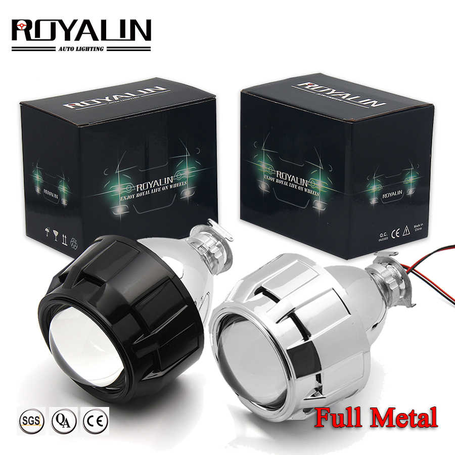 ROYALIN Full Metal 2.5 inch Mini Bi Xenon HID Projector Headlight Lenses Retrofit Fit H4 H7 Car Head Lamp W/ Gating Gun Shrouds