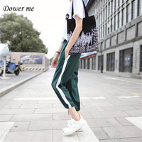 New Women Pants Ladies Wide Leg Trousers Quality Girls Elastic Packets Loose Slacks Casual Side Stripe Pants Student Pant SH9113