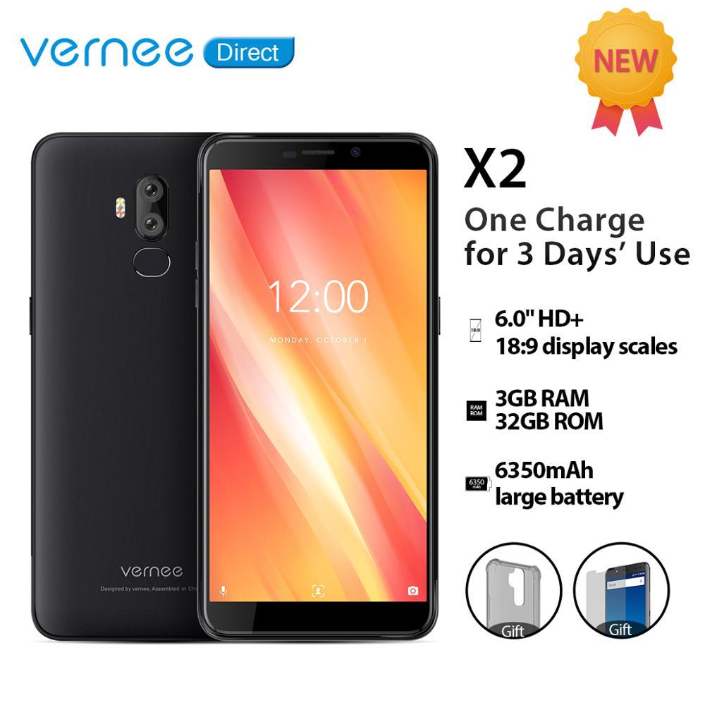 Vernee x2 smartphone 3 gb ram 32 gb rom duplo sim slot 6350 mah 6.0 Polegada face id 4g lte android 9.0 telefone móvel