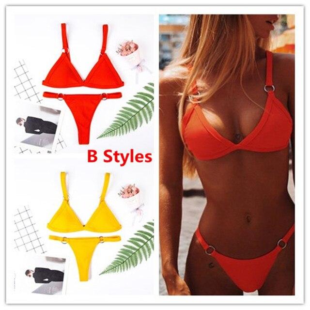 4e7756f20a6c € 7.5 31% de DESCUENTO|Micro Bikini 2019 traje de baño mujer Bikini sin  mangas traje de baño Sexy Tanga Bikinis Set traje de baño ropa de playa ...