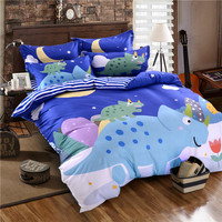 Blue Stripes Bed Sheets Cartoon Pillow Case Dinosaur Print Duvet Cover 100 Cotton Twin Queen Size