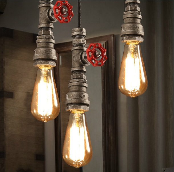 Retro Industrial Black Pipe Pendant Light Wrought Iron Hanging Lamp ...