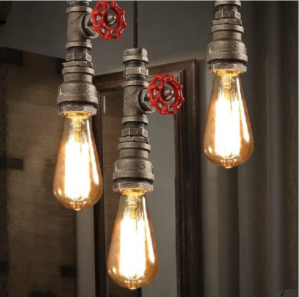 Retro Industrial Black Pipe Pendant Light Wrought Iron Hanging Lamp Shade Steampunk Faucet Plumbing Lighting Fixtures