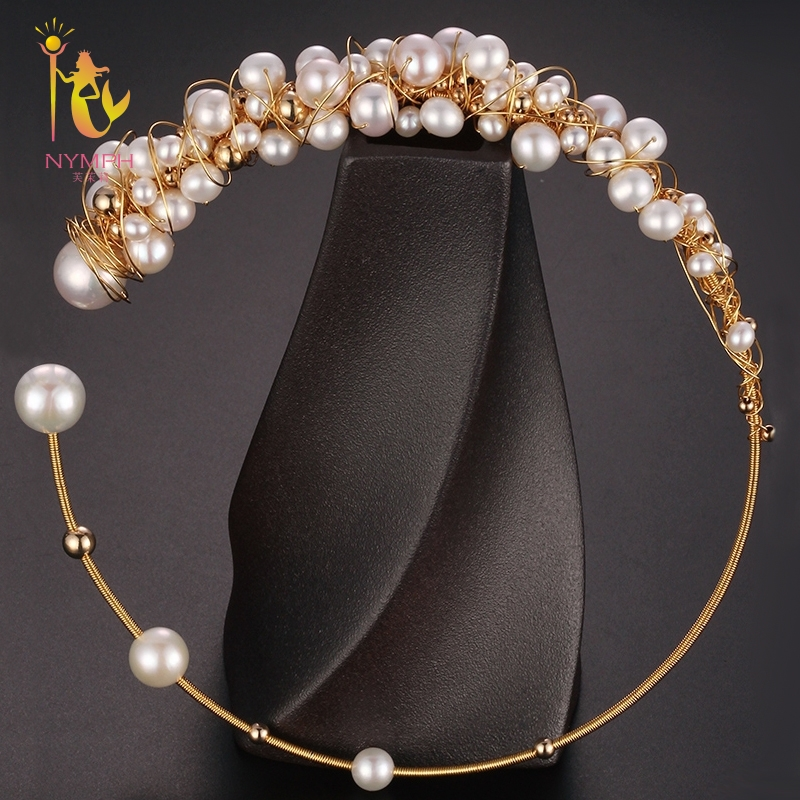 [NYMPH] Baroque Pearl Torques Necklace Fine Jewelry Real Pearl Big Pearl Necklace Women Wedding Trendy Party Jewelry X334 2 3mm red natural agate necklace multi layers 925 sterling silver with real pearl fine womne jewelry wedding party necklace