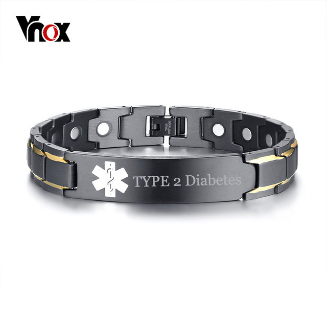5dcf810e61ec7 US $11.99 45% OFF|Vnox Free Engraving TYPE 2 Diabetes Disease Name Medical  Alert ID Bracelets for Men Women Health Therapy Magnetic Bangle Jewelry-in  ...
