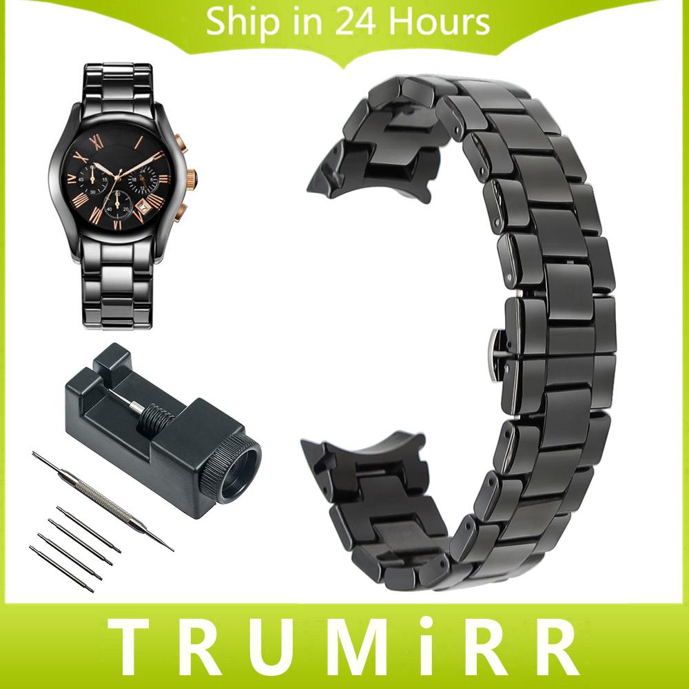 Prix pour 18mm 22mm Curved End Bracelet En Céramique + Lien Remover pour Armani AR AR1405 AR1442 AR1426 AR1468 Hommes Femmes Dragonne Bracelet