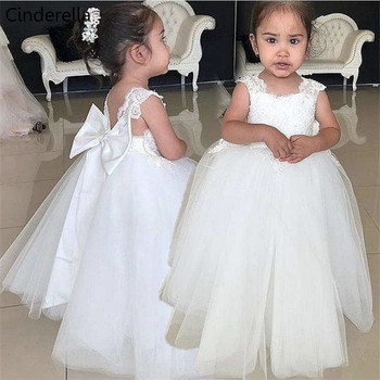 Cinderella Cute Ivory Scoop Sleeveless Lace Applique Soft Tulle Backless Flower Girls Dresses With Hand Made Bow Girls' Dresses