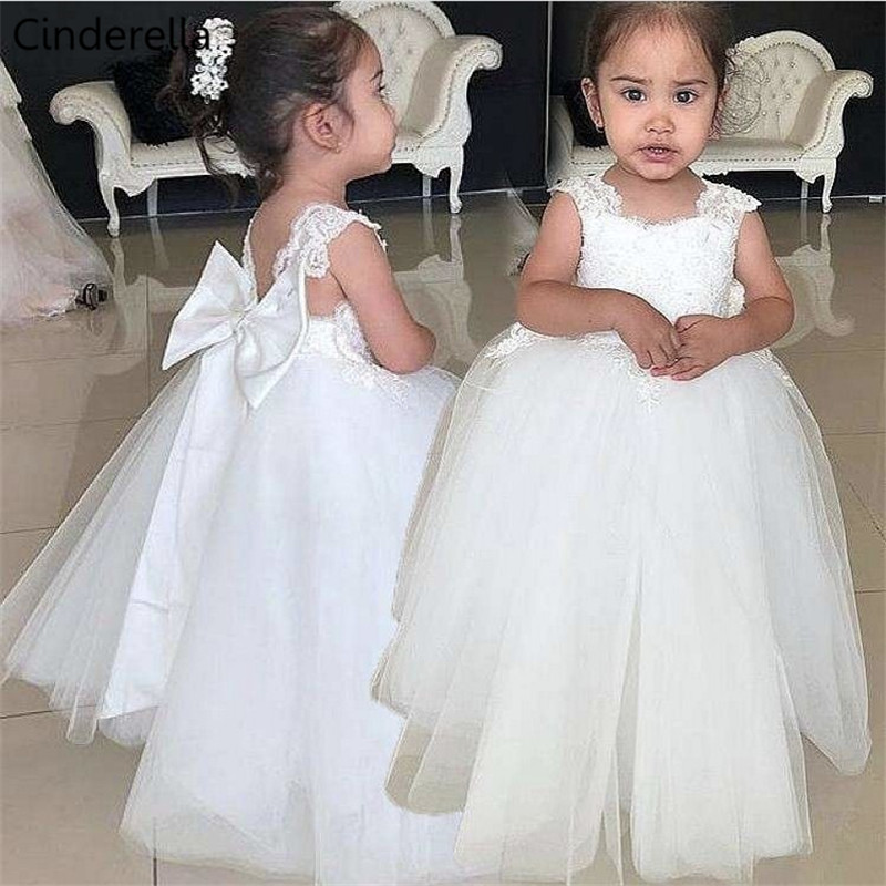 Cinderella Cute Ivory Scoop Sleeveless Lace Applique Soft Tulle Backless   Flower     Girls     Dresses   With Hand Made Bow   Girls  '   Dresses